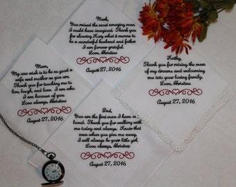 Parents of the Bride Gift - Wedding Handkerchief for parents - Set of four wedding hankerchief - embroidered wedding handkerchief