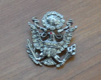 Rare antique art deco sterling silver gold filled US WW2 sweetheart badge with eagle / rhinestone / LJFGUW