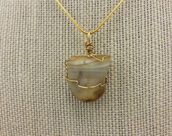 Golden agate wire wrapped pendant necklace