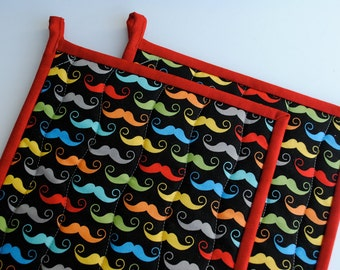 Potholders,  Quilted Potholders, Fabric Potholders, Contemporary Potholders