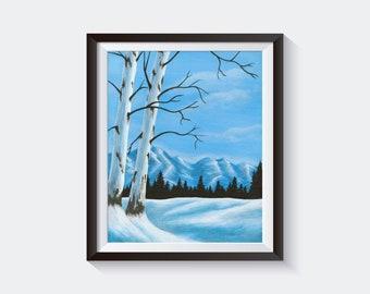 Winter Night Print of Original Acrylic Painting