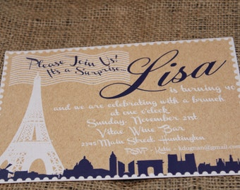Paris Stamp Inspired Invitation