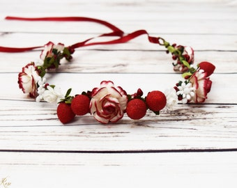 New Handcrafted Strawberry Flower Crown - Red and White Flower Crown - Strawberry Hair Accessory -Rose Berry Flower Crown -Adult Flower Halo