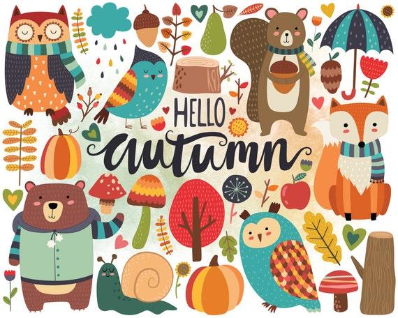 autumn woodland clipart fall clipart autumn clip art woodland rh etsystudio com autumn clipart pinterest autumn clipart free