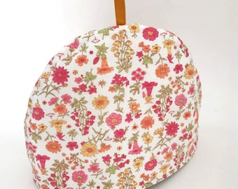 Tea Cozy Cosy Pink Yellow Flowers Vintage Fabric Up-Cycled