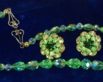 Gorgeous Vintage Judy Lee rhinestone earrings with a matching Green crystal necklace, Citrine and green Rhinestone earrings