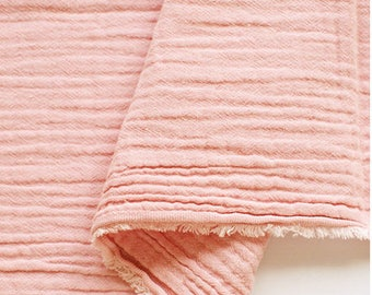 "Pink Wrinkled Cotton Gauze, Double Gauze, Pink Gauze, Crinkle Gauze, Yoryu Gauze - 59"" Wide - By the Yard 99208"