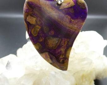 Purple Choi Finches Jasper Heart Pendant.