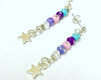 Earrings, star earrings, fashion earrings, pretty earrings, ladies gifts, silver plated earrings, glittery earrings, girls accessories.