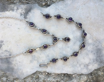 Sterling Silver inlaid with natural stone set purple