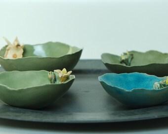 Ceramic bowl with tiny flowers