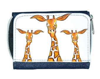 Giraffe denim purse, navy purse, denim purse, giraffe gift, giraffe wallet, giraffe purse, giraffe