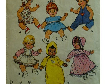"70s Doll Wardrobe Pattern, Dress, Bonnet, Sunsuit, Dresses, Pinafore, Pants, Hooded Bunting Bag, Simplicity No.7208 UNCUT Size 15-16"" Doll"