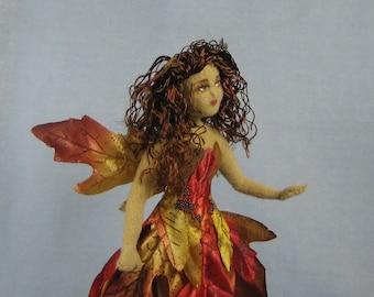 Autumn Leaf Fairy Soft Sculpture Miniature Doll by Marie W. Evans