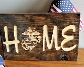 Exceptionnel Home Sign, Carved Wood Sign, Engraved Sign, Military Home Decor, USMC Decor