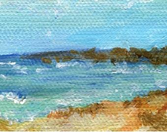 Aruba Seascape, Beach Mini Painting on canvas Original Ocean Art 2 x 4 little Aruba beach painting, Malmok Beach, acrylic painting small art