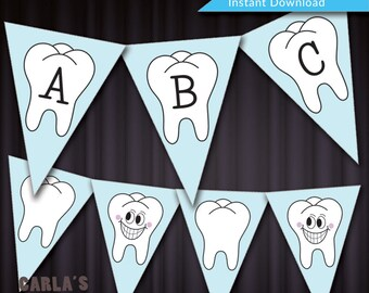 DIY Tooth Banner!  Instant Download Printable PDF File - Includes All Alphabet + Numbers!  Customize for your Event!