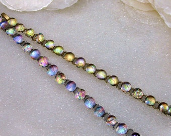 Bracelet in Dichroic Fused Glass Sparkling, Dichroic Glass, Mermaid Tears Bracelet, Gold or Silver