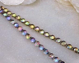 Dichroic Glass Bracelet in Sparkling, Fused Glass Mermaid Tears, Gold or Silver, Handmade Art Glass Bracelet, Beach Glass