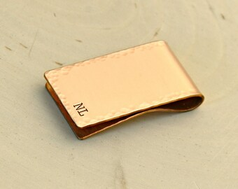 Personalized hammered copper money clip hand for 7th anniversaries, dads, and custom gifts - MC023