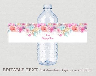Floral Water Bottle Labels / Floral Baby Shower / Watercolor Floral / Pink Floral / Printable INSTANT DOWNLOAD Editable PDF A159