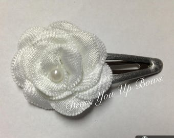 Snap clip white flower silver clip for baby fine hair toddler hair bow  wedding christening photo prop Easter spring summer dressyouupbows