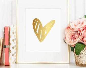 Gold foil heart printable, hand drawn, printable wall art decor, bedroom decor, love art, faux gold foil, instant digital download JPG