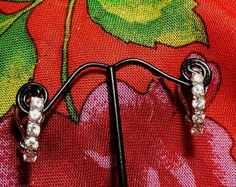 Vintage Cubic Zirconia and Sterling Silver Hoop Earrings