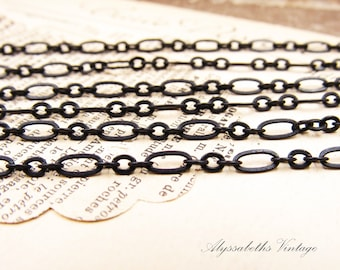 Aged Matte Black Patina Oval & Round Link Cable Chain, 6.5x3mm Oval Links with 3mm Round Links – 1 Ft.
