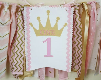 Princess Highchair Banner, Pink and Gold Princess Highchair 1st Birthday Banner, Tiara Highchair banner, 1st Birthday Girl, Cake Smash Prop