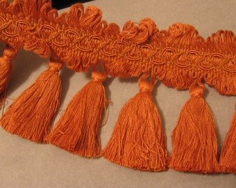 "Tassel Fringe Trim - Orange, Terra Cotta -  4.5"" wide"