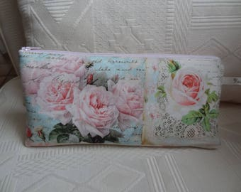 "Shabby chic ""Roses and Scripture"" style clutch"