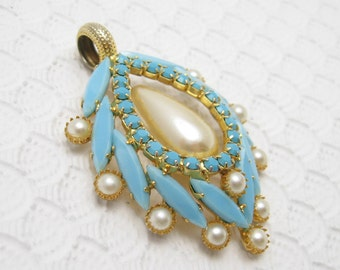 Large Vintage Pendant Pearl Turquoise Glass Jewelry
