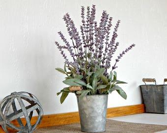Lavender Flower Arrangement, Spring Decor, Artificial Flowers, Rustic Floral, Country Floral Decor,  Farmhouse Centerpiece