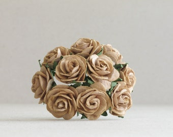 25mm Tea Brown Paper Roses - 10 mulberry paper flowers with wire stems [148]