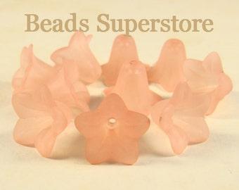 FINAL SALE 18 mm x 12 mm Peach Lucite Flower Bead - 10 pcs