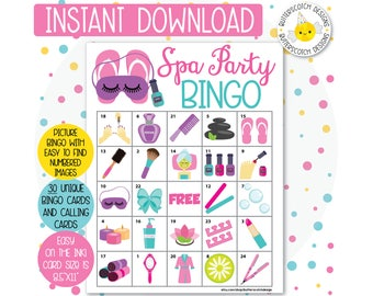 Spa Party Printable Bingo Cards (30 Different Cards) - Instant Download