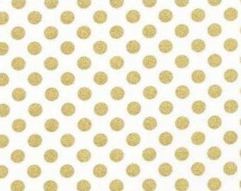Straight Crib Skirt -  Robert Kaufman - Metallic Gold Dots Crib Skirt