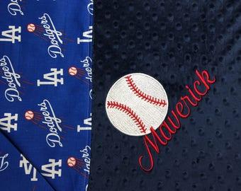 Baseball Blanket LA Dodgers MLB Blanket Baeball Nursery Dodgers Baseball Gift Baseball Lovers Gift Baseball Adult Blanket Personalized Gift
