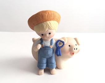 Vintage Enesco Figurine, Cute Pig Figurine, 1st Prize Pig Figurine, Vintage Pig, 1985 Enesco, Cute Farm
