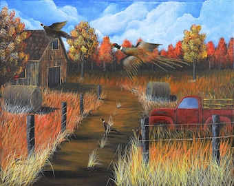Pheasants by the old truck - original painting