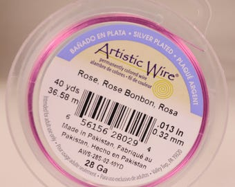 Artistic wire 28 gauge: silver-plated, copper core, rose color