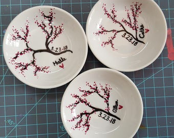 Customized Hand Painted Cherry Blossom Ring Dish