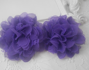 """Purple Frayed  Lace chiffon flower,LC1, mesh,approx. 3.5""""  or 9 cm in diameter , use in DIY craft for baby,children accessories"""