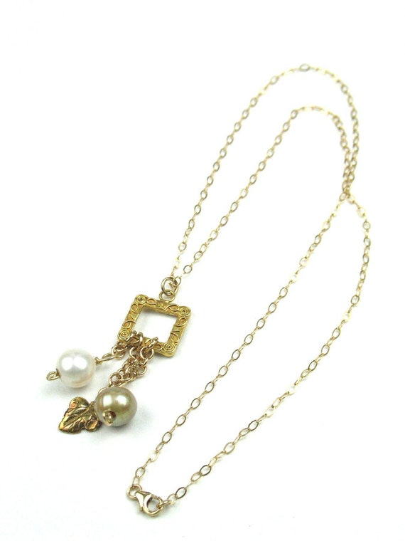 Pendant Necklace in Gold with Real Pearl, Gold Filled Chain, Gold Vermeil Leaf Charms, June Birthstone, Wife Girlfriend Gift, Birthday Gift