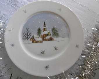 6 dessert plates for Christmas: snowy (hand painted Limoges porcelain)