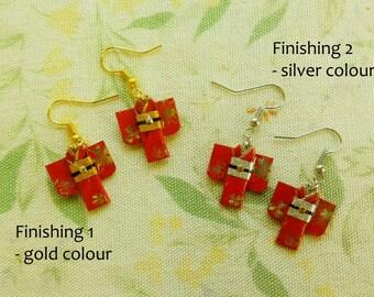 Japanese Origami Kimono Earrings - origami kimono Pierce-