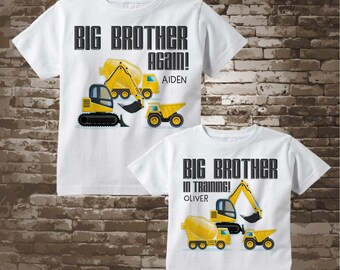 Sibling Set of Two Big Brother Again and Big Brother In Training Tee Shirts or Onesies, Construction Theme 02212018e