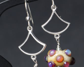 Ivory with Clio Raised Dots Lampworking Sterling Silver Earrings Glass