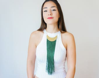 Green Necklace Crescent Necklace Gold Necklace Gold Crescent Necklace Fringe Necklace Gold Jewelry Boho Necklace Boho Jewelry / CHEORA